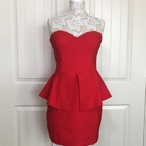 ASOS Red Strapless Cocktail Dress